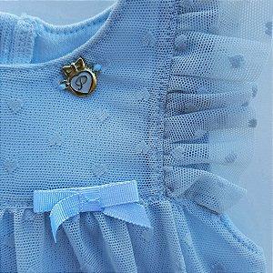 Vestido Bebê Romper Batizado Tule Laços Provence Pinoti Baby
