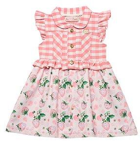 Vestido Bebê Infantil Sofisticado Morangos Xadrez Pinoti Baby