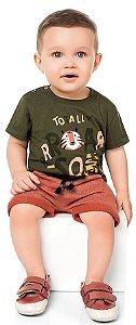 Camiseta Bebê Manga Curta Baby Tiger Verde Kiko e Kika