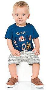 Camiseta Bebê Manga Curta Baby Tiger Azul Kiko e Kika