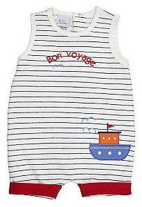 Macaquinho Bebê Romper Algodão Navy Barquinho Baby Fashion