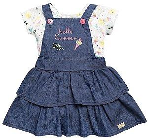 Vestido Infantil Bebê Jeans Escuro Hello Summer Anuska