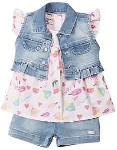 Conjunto Infantil Jeans Claro Shorts Coletinho Summer Anuska