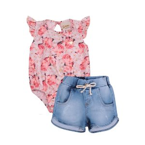 Conjunto Infantil Bebê Body Floral Shorts Jeans Doces Momentos