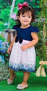 Vestido Festa Infantil Bebe Laço Floral Azul Doces Momentos