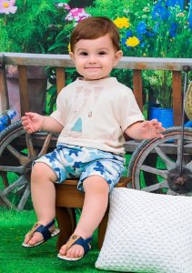 Conjunto Infantil Camiseta Tigrinho Bermuda Camuflada Doces Momentos