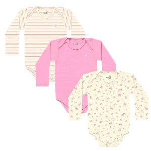 Kit Body Bebê Manga Longa Little Flowers Kiko Baby