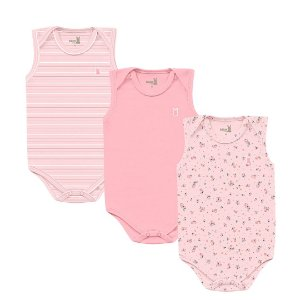 Kit Body Bebê Regata Little Flowers Rosa Kiko Baby