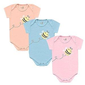 Kit Body Bebê Manga Curta Abelhinha Bordado Tricolor Kiko Baby
