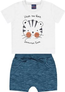 Conjunto Bebê Menino Camiseta Bermuda Tigrinho Branco Kiko e Kika