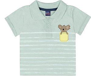 Camiseta Bebê Polo Manga Curta Koalinha Verde Kiko e Kika
