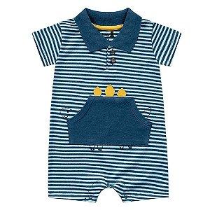Macaquinho Romper Bebê Dino Listas Azul Nautico Kiko Baby