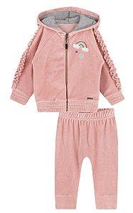 Conjunto Infantil Inverno em Plush Jaqueta Calça Colorittá Rosa