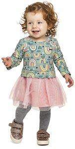Vestido Infantil Molecotton Felpudo Saia Tule Arco Íris Colorittá Verde