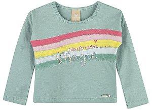 Camiseta Infantil Manga Longa Lantejoula Arco Íris Colorittá Verde