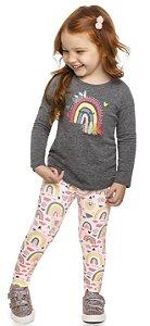 Conjunto Infantil Blusa Legging Molecotton Felpuda Colorittá Arco Íris Cinza