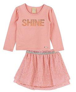 Conjunto Infantil Blusa Cotton Saia Tule Shine Colorittá Rosa