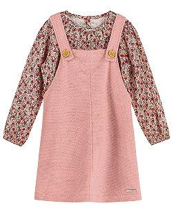 Vestido Salopete Veludo Blusa Viscose Colorittá Flowers Rosa