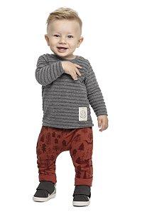 Conjunto Infantil Camiseta Malha Texturizada Calça Moletom Cinza Colorittá
