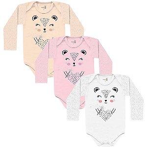 Kit Body Bebê Manga Longa Menina Porquinho Heart Kiko Baby