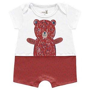 Macaquinho Romper Unissex Abraço Urso Vermelho Kiko Baby