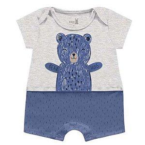 Macaquinho Romper Unissex Abraço Urso Azul Kiko Baby