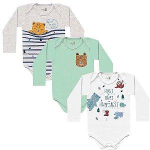 Kit Body Bebê Manga Longa Unissex Abraço Urso Tricolor Kiko Baby