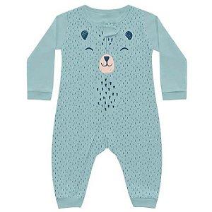 Macacão Bebê Longo Suedine Unissex Abraço Urso Azul Kiko Baby