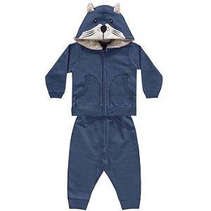 Conjunto Moletom Bebê Peluciado Capuz Pêlos Fox Azul Kiko e Kika