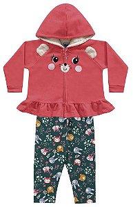 Conjunto Longo Bebê Moletom Ursinha Casaco Calça Felpada Tutti Kiko e Kika
