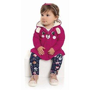 Conjunto Longo Bebê Moletom Ursinha Casaco Calça Felpada Pink Kiko e Kika
