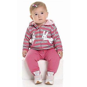 Conjunto Longo Bebê Moletom Coelhinha Casaco Calça Felpada Rosa Kiko e Kika