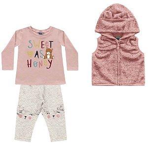 Conjunto Longo Bebê Colete Atoalhado Blusa e Legging Peluciada Rosa Kiko e Kika