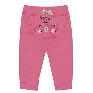 Calça Moletom Bebê Peluciado Gatitta Pink Kiko e Kika