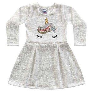 Vestido Infantil Malha Tricot Fofy Unicórnio Off White Kiko e Kika