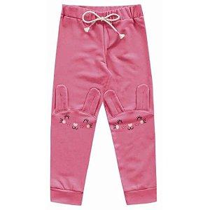 Calça Molecotton Infantil Menina Coelhinha Pink Kiko e Kika