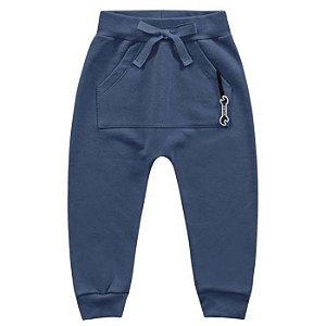 Calça Moletom Infantil Felpuda Bolsão Azul Kiko e Kika
