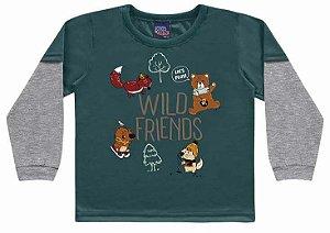 Camiseta Infantil Manga Longa Wild Friends Verde Kiko e Kika
