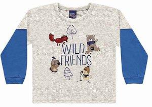 Camiseta Infantil Manga Longa Wild Friends Cinza Kiko e Kika