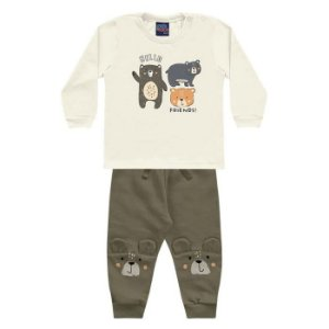 Conjunto Bebê Calça Moletom Peluciado Camiseta Malha Ursinho Bege Kiko e Kika