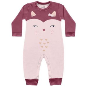 Macacão Longo Bebê Suedine Menina Corujinha Rosa Kiko Baby