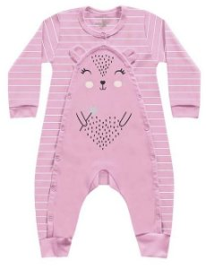 Macacão Longo Bebê Suedine Menina Porquinho Rosa Kiko Baby