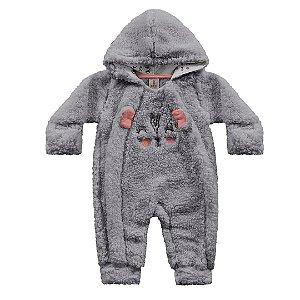 Macacão Longo Bebê Pêlos Fluffy Pandinha Cinza Kiko Baby