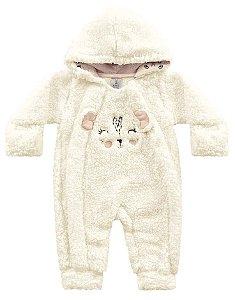 Macacão Longo Bebê Pêlos Fluffy Pandinha Off White Kiko Baby