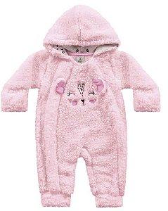 Macacão Longo Bebê Pêlos Fluffy Pandinha Rosa Kiko Baby