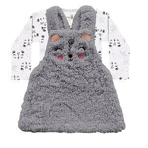 Conjunto Vestido Salopete Pêlos Fluffy Body Bebê ML Pandinha Cinza Kiko Baby