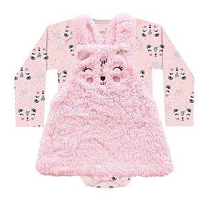 Conjunto Vestido Salopete Pêlos Fluffy Body Bebê ML Pandinha Rosa Kiko Baby