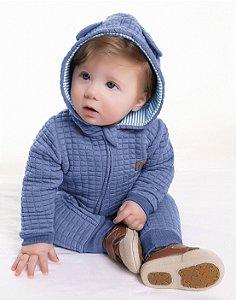Macacão Moletom Bebê em Matelassê Longo Capuz Azul Kiko Baby