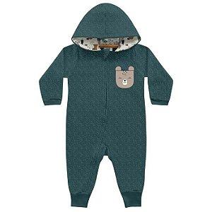 Macacão Bebê Longo Moletom Moulinet Peluciado Ursinho Verd