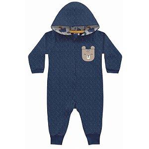 Macacão Moletom Peluciado Moulinet Floresta Encantada Azul Kiko Baby